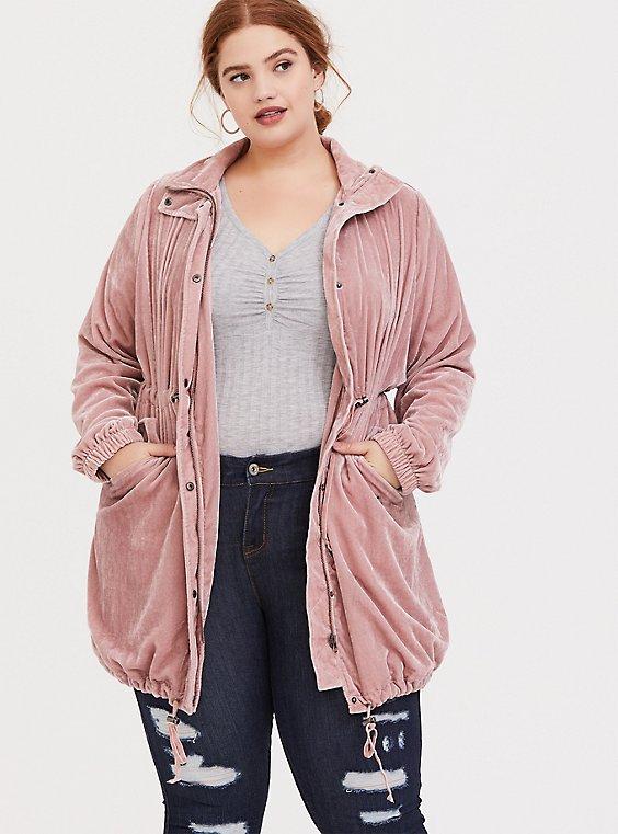 Dusty Pink Velvet Anorak, , hi-res