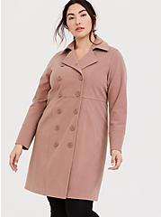Taupe Double-Breasted Coat, WARMED STONE, alternate