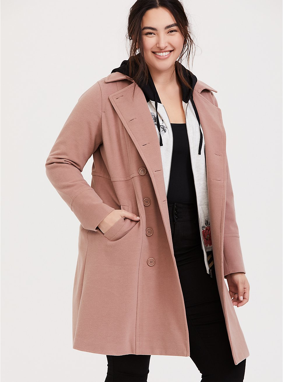 Taupe Double-Breasted Coat, WARMED STONE, hi-res
