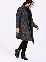 Black & White Boucle Fit & Flare Coat, BLACK-WHITE, alternate