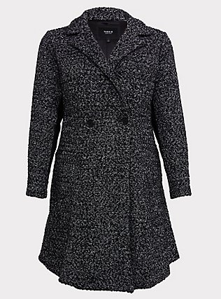 Black & White Boucle Fit & Flare Coat, BLACK-WHITE, flat