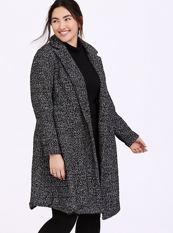 Black & White Boucle Fit & Flare Coat, , hi-res