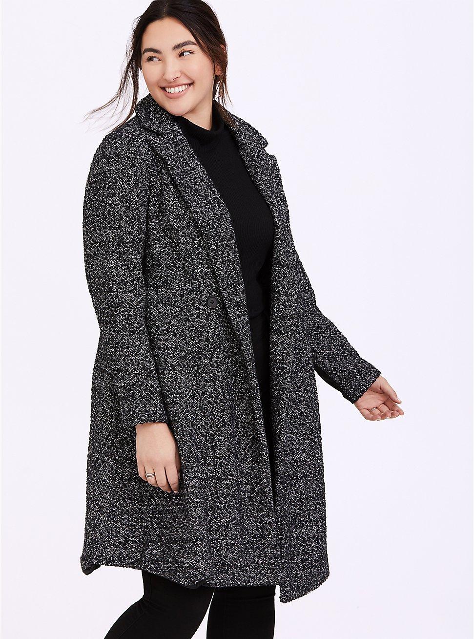Black & White Boucle Fit & Flare Coat, BLACK-WHITE, hi-res