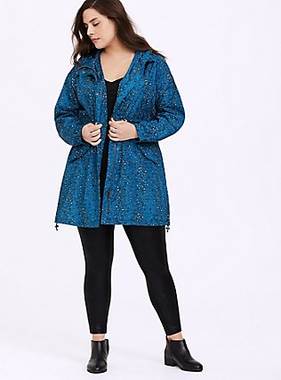 Dark Teal Leopard Nylon Hooded Longline Rain Jacket, FLORAL LEOPARD LOVE, hi-res