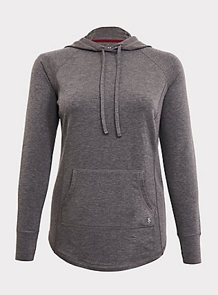 Plus Size Dark Grey Active Wicking Tunic Hoodie, CHARCOAL, flat