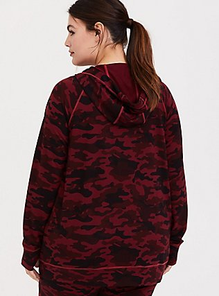 Plus Size Burgundy Red Camo Active Zip Hoodie, MULTI, alternate