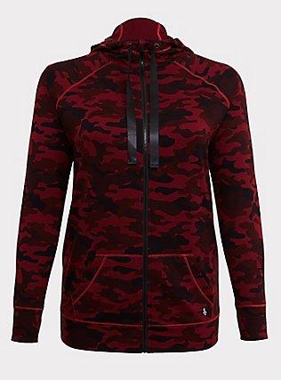 Plus Size Burgundy Red Camo Active Zip Hoodie, MULTI, flat