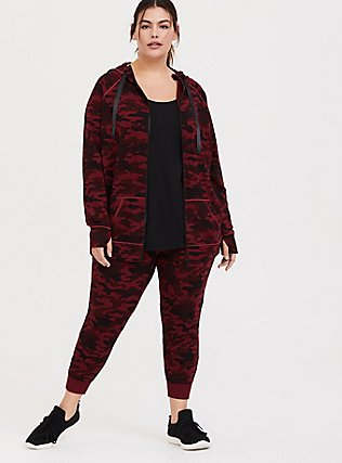 Plus Size Burgundy Red Camo Active Zip Hoodie, MULTI, hi-res