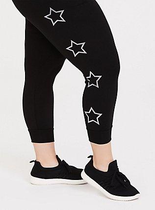 Black Foil Star Active Crop Jogger, DEEP BLACK, alternate
