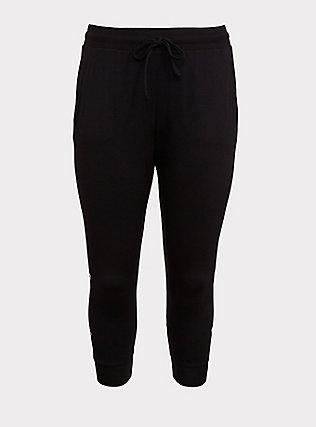 Black Foil Star Active Crop Jogger, DEEP BLACK, flat