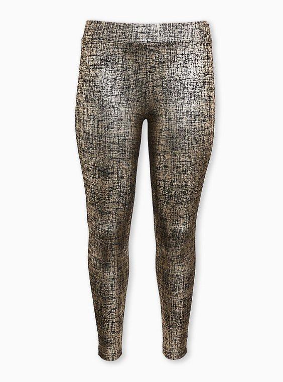 Premium Legging - Metallic Foil Crosshatch Gold, GOLD, ls