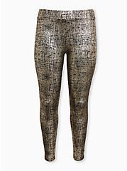 Premium Legging - Metallic Foil Crosshatch Gold, GOLD, hi-res