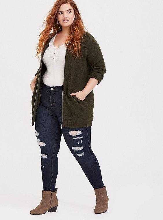 Olive Green Sweater-Knit Collarless Zip Jacket, , hi-res