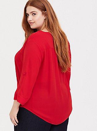 Harper - Red Georgette Button-Loop Blouse, BLOOD RED, alternate