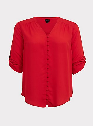 Harper - Red Georgette Button-Loop Blouse, BLOOD RED, flat