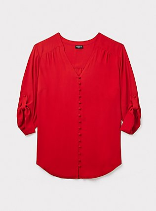 Harper - Red Georgette Button-Loop Blouse, BLOOD RED, pdped