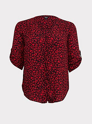 Harper - Red Leopard Georgette Button Loop Blouse, MULTI, flat