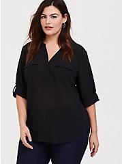 Plus Size Harper - Black Window Pullover Blouse, DEEP BLACK, hi-res