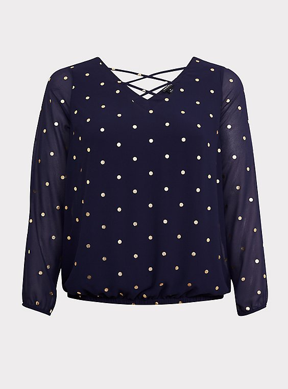Plus Size Navy & Gold Dot Chiffon Long Sleeve Lattice Blouse, , flat