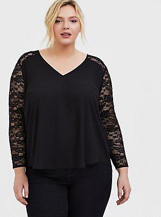Plus Size Black Georgette Lace Sleeve Blouse, DEEP BLACK, hi-res