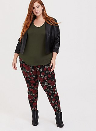 Plus Size Premium Legging - Floral Black & Red, MULTI, alternate