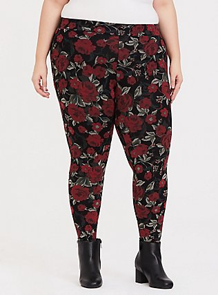 Plus Size Premium Legging - Floral Black & Red, MULTI, hi-res