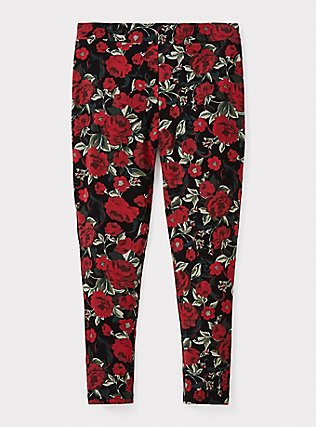 Plus Size Premium Legging - Floral Black & Red, MULTI, pdped