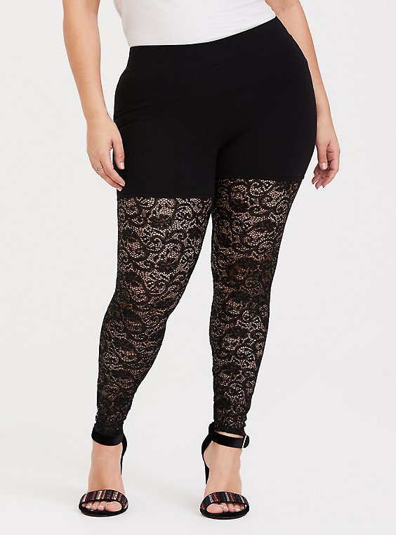 Black Semi-Sheer Lace Sequin Legging, , hi-res