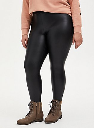 Plus Size Platinum Legging – Faux Leather Fleece Lined Black, BLACK, alternate