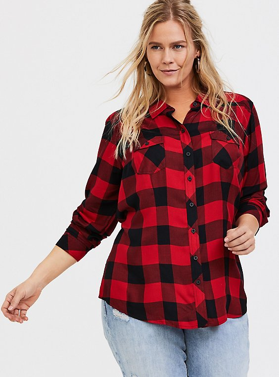 Taylor - Red Plaid Twill Button Front Shirt, , hi-res