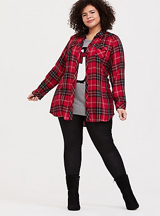 Taylor - Red & Black Plaid Twill Button Front Slim Fit Tunic Shirt, MULTI, alternate