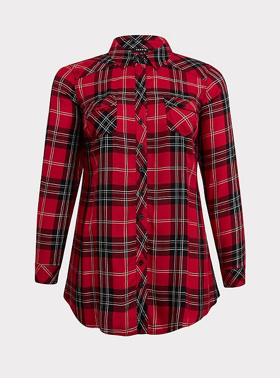 Taylor - Red & Black Plaid Twill Button Front Tunic Shirt, , flat