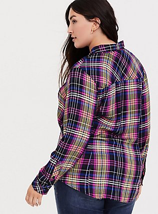 Taylor - Multi Plaid Twill Button Front Slim Fit Camp Shirt, MULTI, alternate