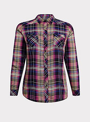 Taylor - Multi Plaid Twill Button Front Slim Fit Camp Shirt, MULTI, flat