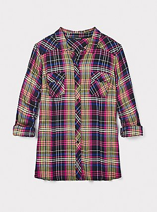 Taylor - Multi Plaid Twill Button Front Slim Fit Camp Shirt, MULTI, pdped