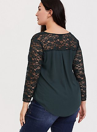 Forest Green Georgette Lace Sleeve Blouse, GREEN, alternate