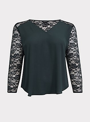 Forest Green Georgette Lace Sleeve Blouse, GREEN, flat