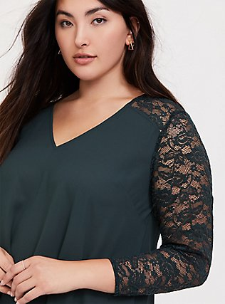 Plus Size Forest Green Georgette Lace Sleeve Blouse, GREEN, hi-res