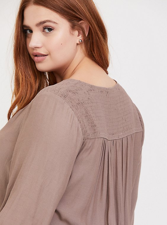 Plus Size Dark Taupe Crepe Smocked Blouse, , hi-res