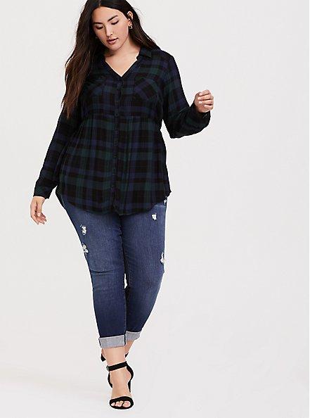 Plus Size Emma - Dark Green & Navy Plaid Twill Babydoll Tunic, MULTI, alternate