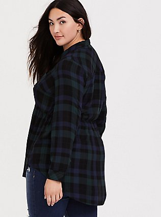 Emma - Dark Green & Navy Plaid Twill Babydoll Tunic, MULTI, alternate