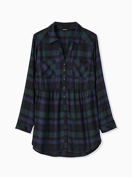 Plus Size Emma - Dark Green & Navy Plaid Twill Babydoll Tunic, MULTI, hi-res