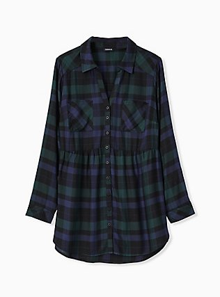 Emma - Dark Green & Navy Plaid Twill Babydoll Tunic, MULTI, flat
