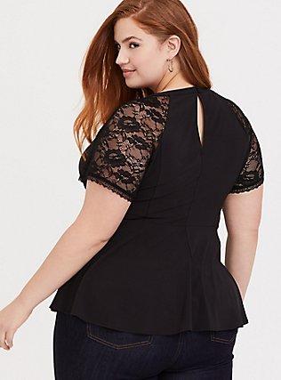Black Crepe Lace Sleeve Peplum Top, DEEP BLACK, alternate