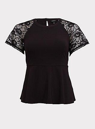 Black Crepe Lace Sleeve Peplum Top, DEEP BLACK, flat
