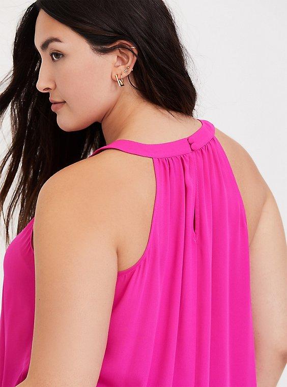 Neon Pink Georgette Hi-Lo Goddess Tank, , hi-res