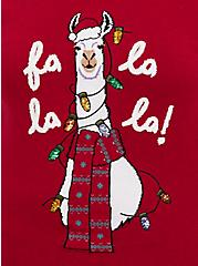 Fa La La La Red Llama Sequin Sweatshirt, JESTER RED, alternate