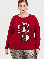 Fa La La La Red Llama Sequin Sweatshirt, JESTER RED, hi-res