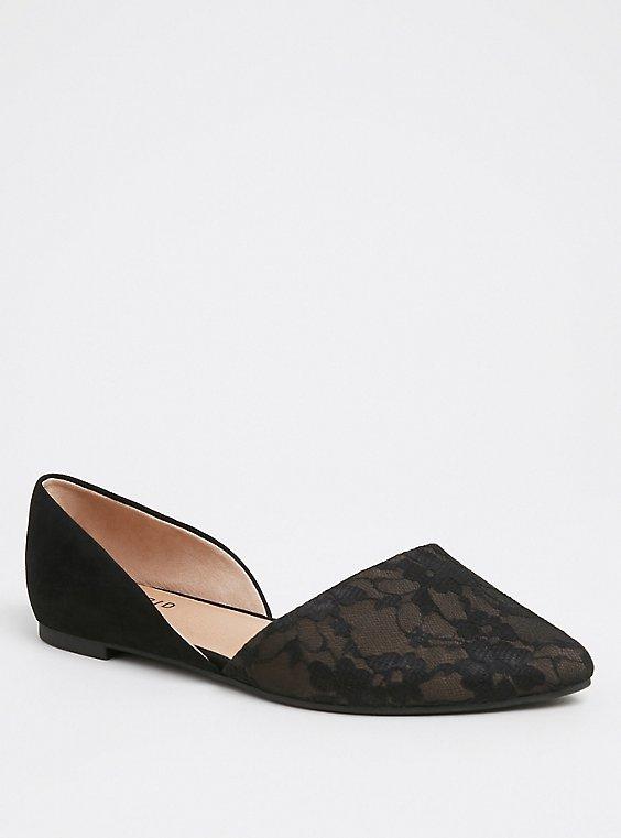 Plus Size Black Lace D'Orsay Flat (WW), , hi-res