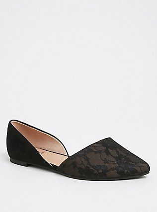 Black Lace D'Orsay Flat (WW), BLACK, hi-res